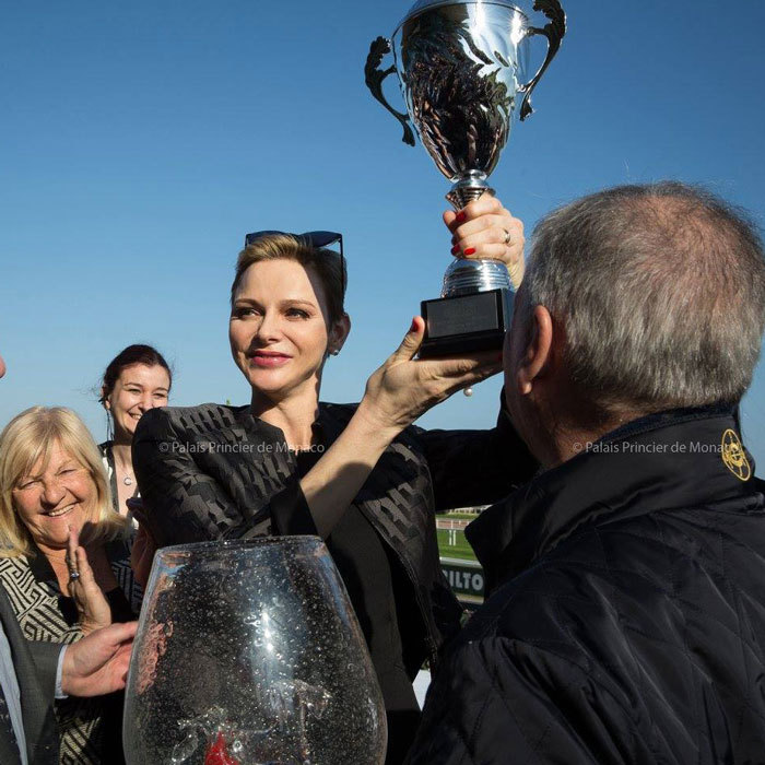 "Princess Charlene launched the ""Prix Princess Charlene of Monaco Charity Mile"" at the racecourse in Cagnes-sur-Mer, with each horse in the race representing one of 18 local charities. 
