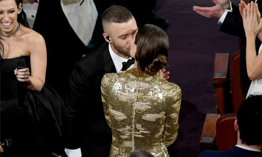 After bringing down the house with his performance of <i>Can't Stop the Feeling</i> during the opening of the 89th Academy Awards ceremony, Justin planted a kiss on Jessica, who danced throughout the entire performance. 