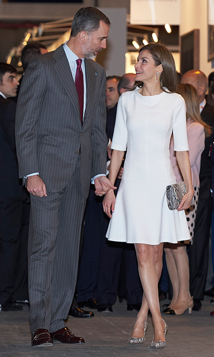 Queen Letizia, accompanied by her husband King Felipe VI of Spain, wore a little white dress to the opening of the ARCO 2017 contemporary art fair in Madrid.
