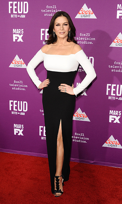 March 1: Catherine Zeta-Jones wore an off-the-shoulder-gown by Rhea Costa to the premiere of <i>Feud: Bette and Joan</i> in Hollywood.