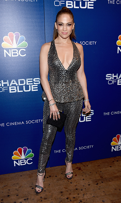 March 1: Jennifer Lopez sparkled in silver Zuhair Murad at the season premiere of <i>Shades of Blue</i> in New York City.