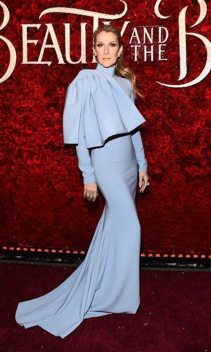 March 2: Celine Dion was a vision in blue Christian Siriano at the premiere of <i>Beauty and the Beast</i> in Hollywood.