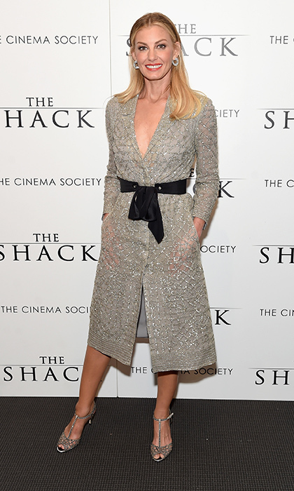 February 28: Faith Hill wore embroidered Monique Lhuillier to the world premiere of <i>The Shack</i> at the Museum of Modern Art in New York City. 