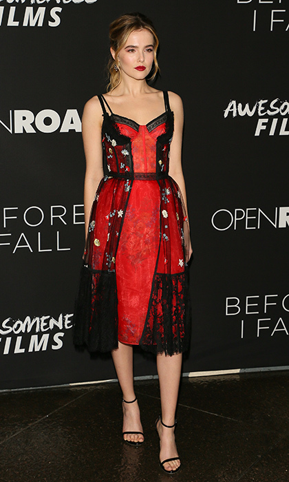 March 1: Zoey Deutch was the lady in red in Alexander McQueen at the premiere of Open Road Films' <i>Before I Fall</i> in Los Angeles.