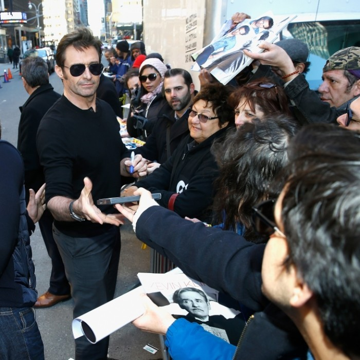 March 2: Hugh Jackman kindly stopped to greet his fans outside <i>The Late Show With Stephen Colbert</i> at Ed Sullivan Theater in New York City. The <i>Logan</i> star was out and about to promote his new film.