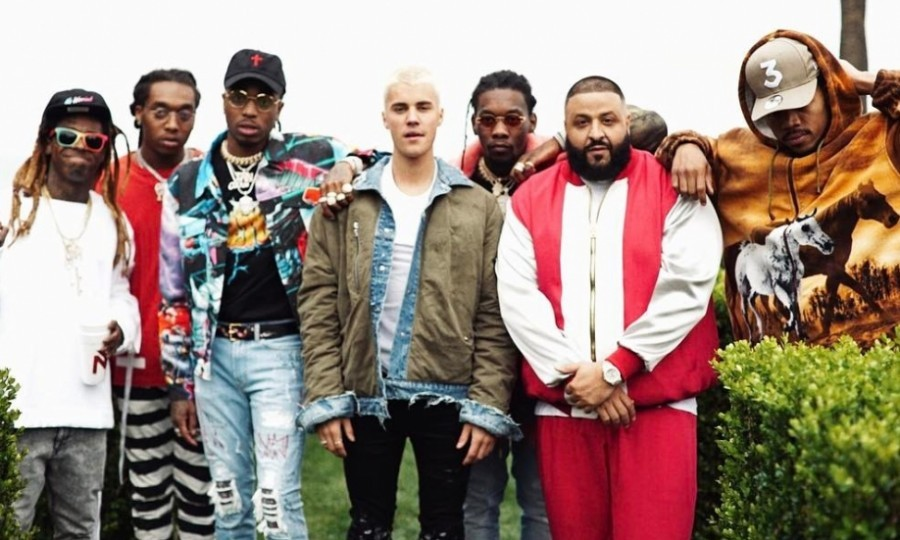 "February 27: New squad alert! DJ Khaled hinted at a collaboration with talent like Justin Bieber, Chance the Rapper, Migos and Lil Wayne. The rapper posted a bunch of Instagram photos featuring the artists, asking his fans to keep it ""top secret.""