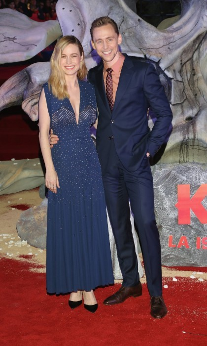 MARCH 4: Brie Larson and Tom Hiddleston were all smiles on the <i>Kong: Skull Island</i> Mexico City carpet. The Oscar-winning actress resembled a starry night sky as she posed with her leading man. The premiere took place at Oasis Coyoacan in Mexico. 