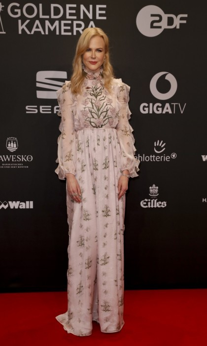 March 4: Sheer beauty! Nicole Kidman stunned in a sheer flower-print dress while walking the Goldene Kamera carpet. 