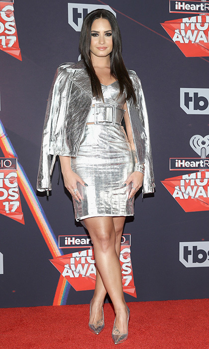 March 5: Demi Lovato had her shining moment on the red carpet in silver at the 2017 iHeartRadio Music Awards.