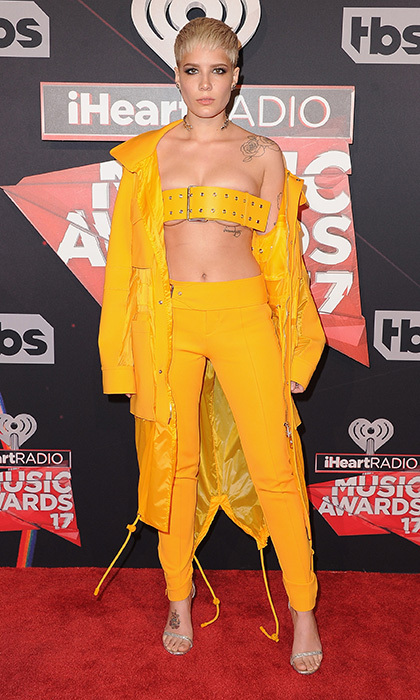 March 5: Wearing bright yellow, Halsey brought some sexy utilitarian style  to the red carpet at the 2017 iHeartRadio Music Awards.