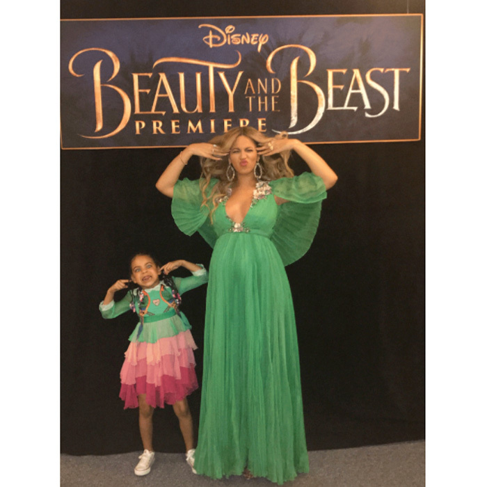 Beyonce had a fun date to the <i>Beauty and the Beast</i> premiere in Hollywood. She and Blue Ivy wore matching Gucci dresses for the Disney affair.