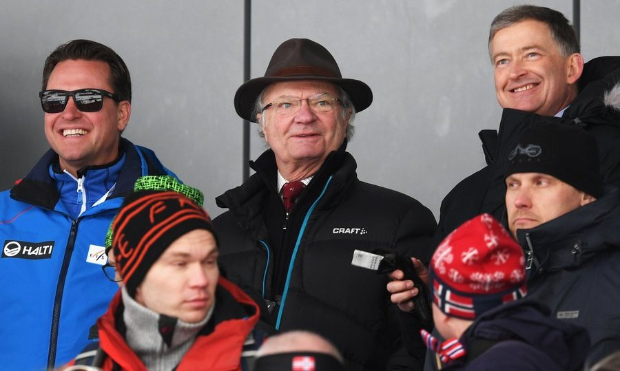 King Carl XVI Gustaf of Sweden blended in with the crowd as he watched the Men's 4x10km Cross Country Relay during the FIS Nordic World Ski Championships on March 3 in Lahti, Finland. 