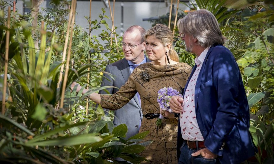 Queen Maxima of the Netherlands put her green thumb to the test as she took a look at the greenery at horticultural company Koppert Cress on March 7 in Monster, Netherlands. 