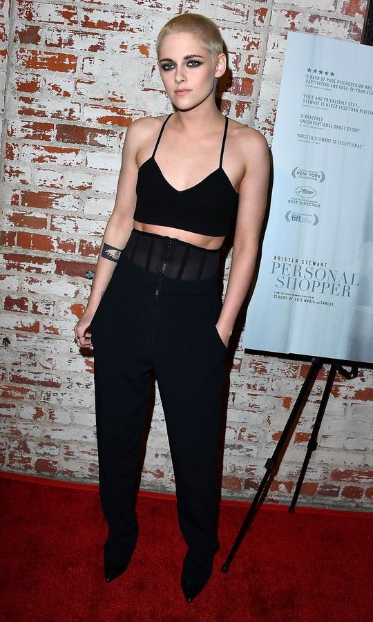 March 7: Kristen Stewart rocked a crop top (and her new cropped hairstyle!) at the premiere of IFC Films' <I>Personal Shopper</I> at The Carondelet House in Los Angeles.