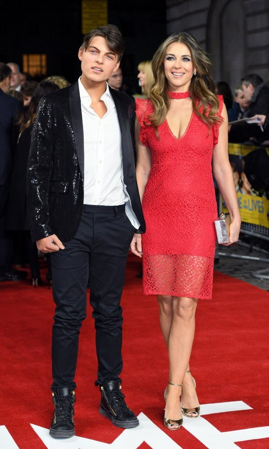 March 8: Elizabeth Hurley arrived on the arm of a handsome gent – her 14-year-old son Damian – for the world premiere of <I>The Time Of Their Lives</I> at the Curzon Mayfair in London.