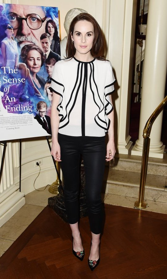 March 7: Chic style in black and white! Michelle Dockery stepped out for the <I>The Sense of an Ending</I> Q & A at The Lotus Club in New York City. 
