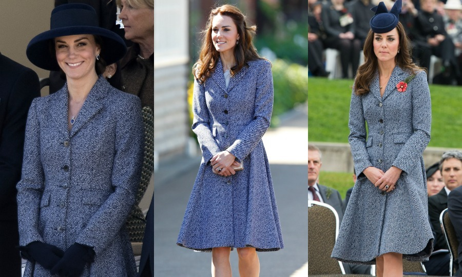 Kate wore this Michael Kors coat not one, not two, but three times! For the latest sighting in March 2017, the Duchess wore the coat during the unveiling of the new memorial gardens, pairing it with a wide-brimmed navy blue hat. She was previously seen in the look in May 2016 and for the first time during her visit to Australia in 2014.