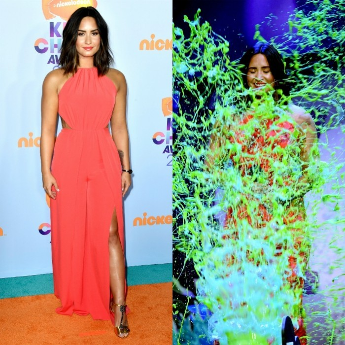March 11: Demi Lovato went from looking glam to gooey at the Kids' Choice Awards. Before getting slimed, the 24-year-old had not one hair out of place, wearing a sleek coral number. 