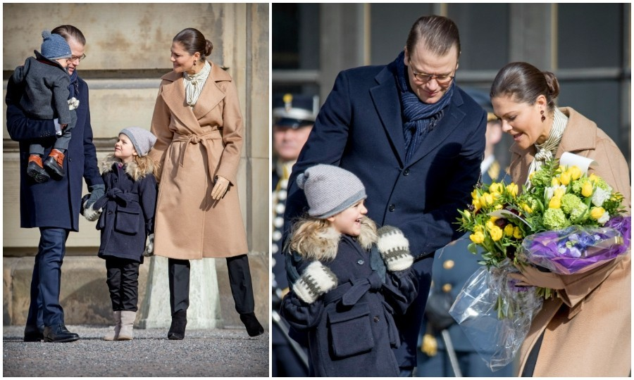 "Crown Princess Victoria of Sweden celebrated her ""name day"" at the Swedish palace with crowds of supporters. The royal was joined by her husband, Prince Daniel, and their two children, Princess Estelle, 5, and Prince Oscar, 1. The little ones completely stole the show, looking as cute as ever as they enjoyed ""Victoria day,"" which is celebrated every year on March 12. Each calendar day in Sweden is attached to a person's name, with numerous links to royals.
