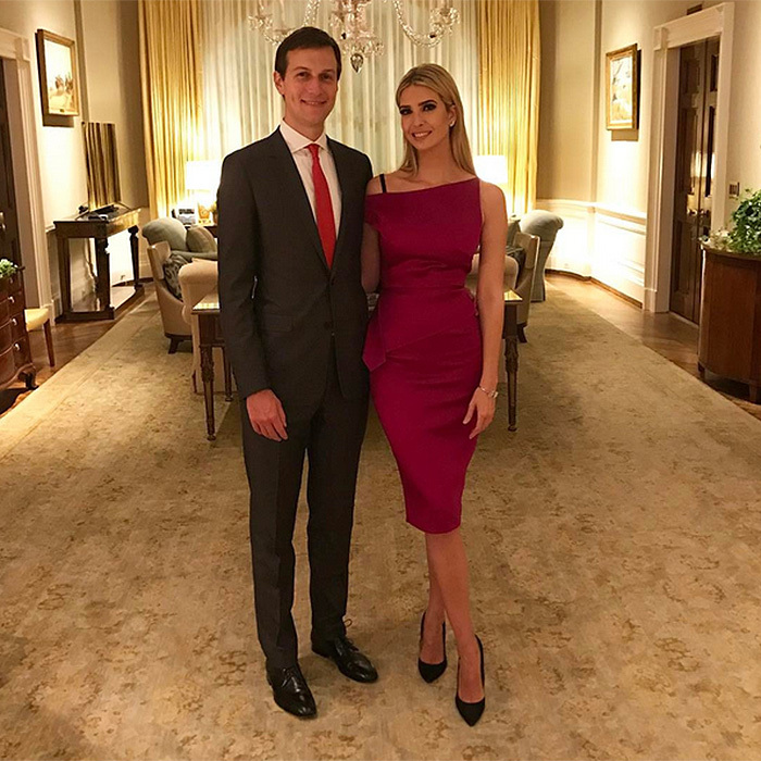 For her dad Donald Trump's first joint session of congress on February 28, Ivanka – seen here with husband Jared Kushner – wore a $3,000 Roland Mouret creation.