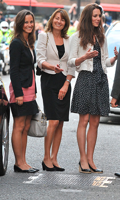 Mom Carole Middleton with her daughters as they arrived at London's Goring Hotel, where Kate spent her last night as a single woman ahead of her Royal Wedding on April 28, 2011.
