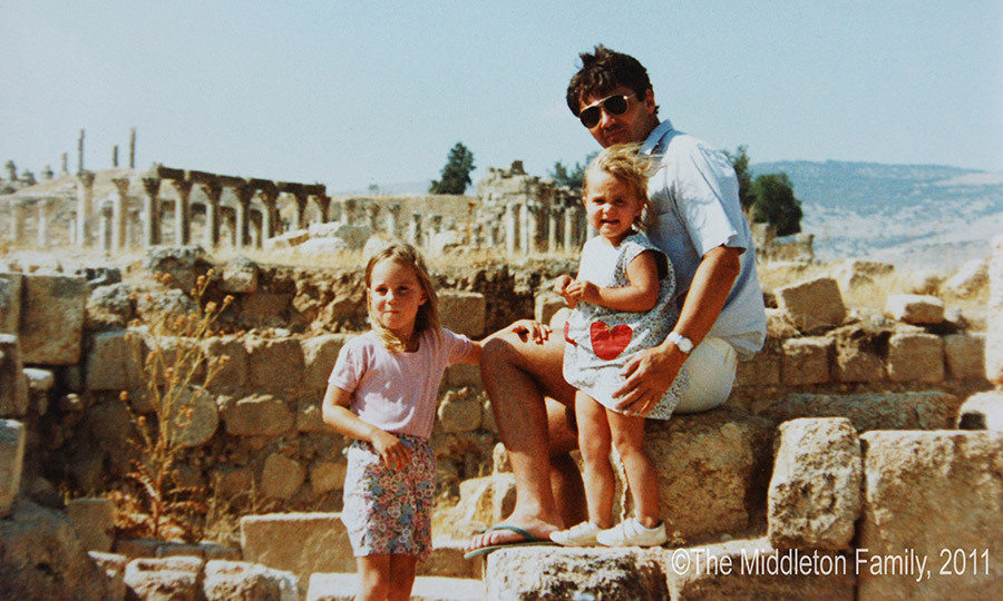 The Middleton sisters with dad Michael in Jordan, where the family lived for two and a half years.