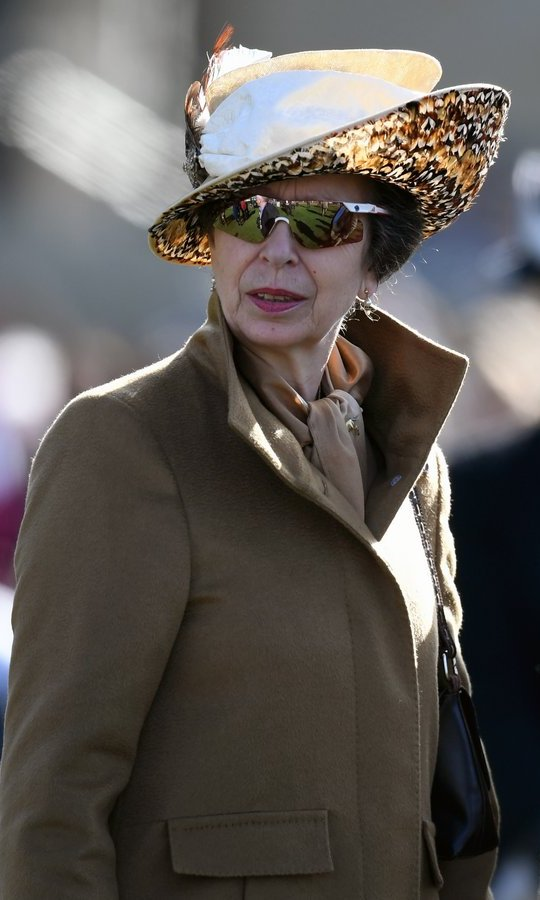 Queen Elizabeth's only daughter Princess Anne wore a feathered hat and mirrored shades at Ladies Day at Cheltenham Festival on March 15 in Cheltenham, England. 