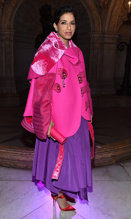 Editor-in-Chief of Vogue Arabia, Princess Deena Aljuhani Abdulaziz was stunning in pink and purple at the Stella McCartney presentation at Paris Fashion Week.
