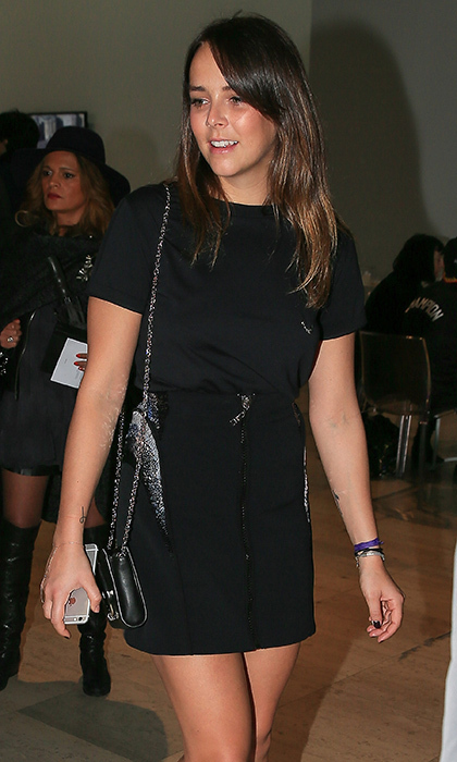 Princess Grace's granddaughter Pauline Ducruet – daughter of Princess Stephanie – was spotted at the Mugler show at PFW, where she wore a cool tee and zip-front mini.