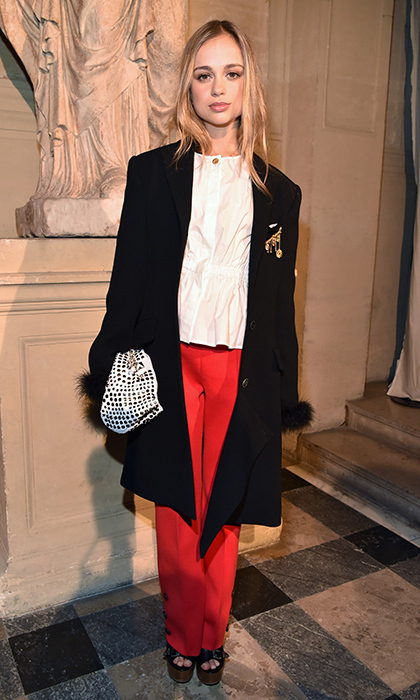 Proving oversized jackets are a royal trend, Lady Amelia Windsor made an appearance in this chic piece at Sonia Rykiel during Paris Fashion Week.