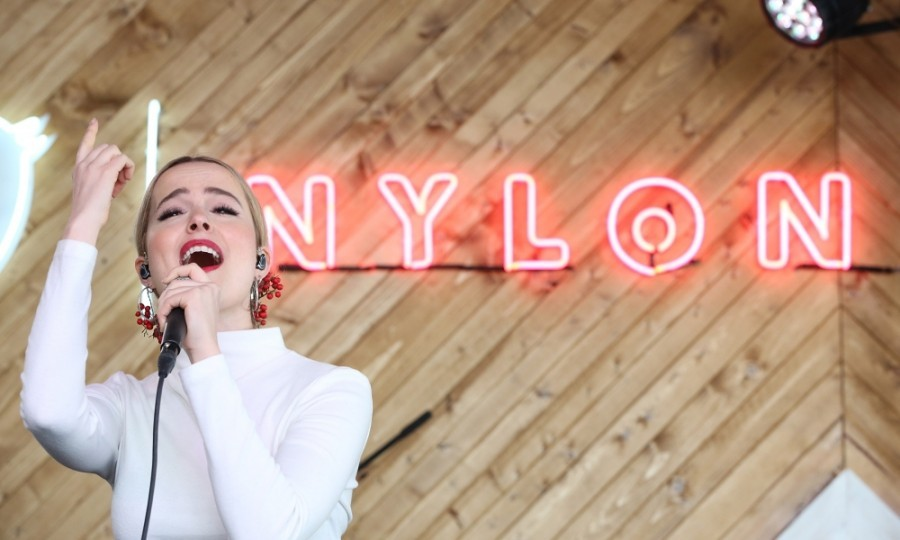 "March 13: Bridgit Mendler performed at NYLON's ""Happiest of Hours"" party at #TwitterHouse at Bar 96 in Austin, Texas during the 2017 SXSW Festival. Other musical acts included: POWERS, Kat Graham, The Aces, and DJ Coco Robert.