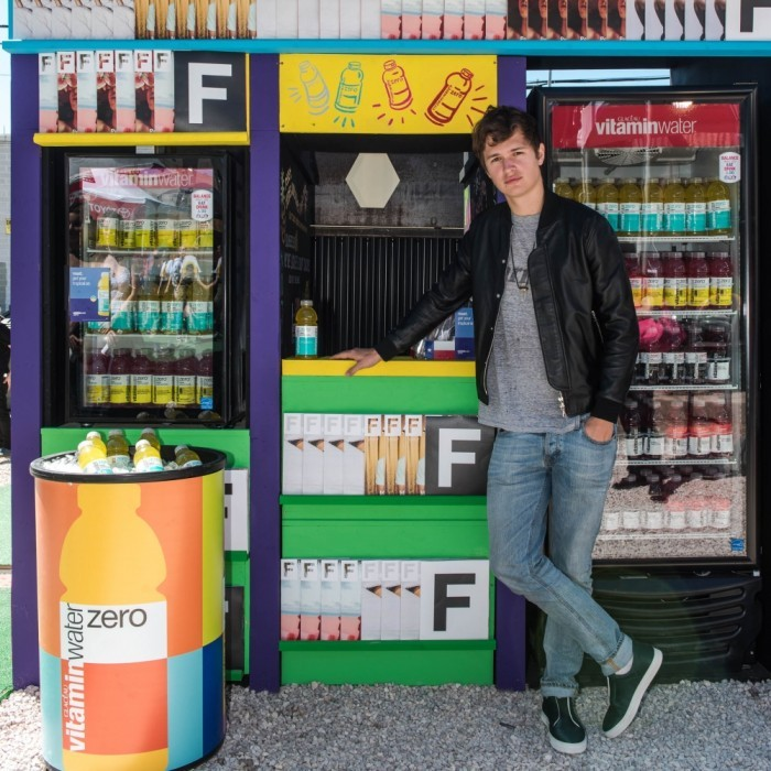 March 15: Taste the flavor! Ansel Elgort stopped by the vitaminwater zero™ reset newsstand to check out the music and try the newest reset flavor (pineapple coconut), at The FADER Fort in Austin, Texas.
