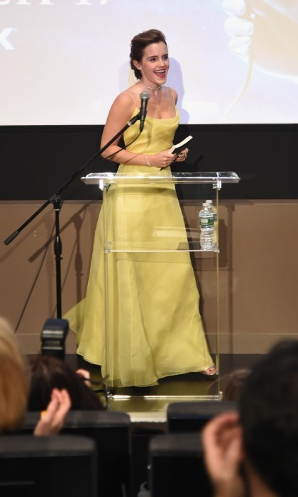 March 13: Emma Watson channeled Belle once again as she shared her love of books with children from The NY Film Society for Kids at Lincoln Center's Francesca Beale Theater in NYC. 