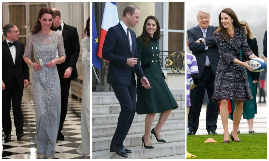 "Prince William and Kate Middleton said bonjour to Paris on March 17! Marking their first official royal visit to the city, the couple had a jam-packed agenda. Take a look at all the highlights from the Duke and Duchess of Cambridge's whiplash royal tour of the ""City of Lights.""