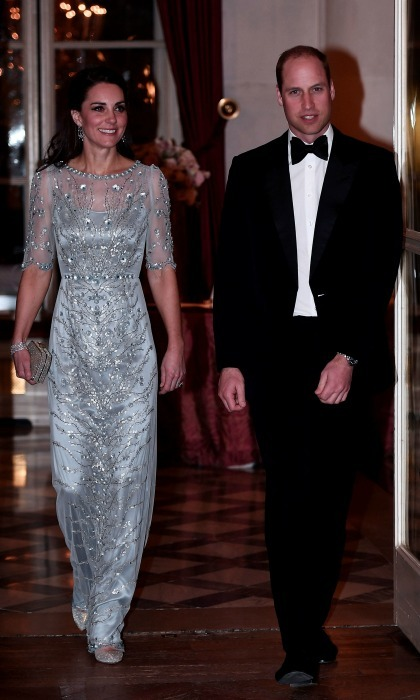 On their first night in Paris, the Duke and Duchess of Cambridge were the guests of honor at a black tie dinner hosted at the British Embassy. William and Kate walked into the special gathering side-by-side.