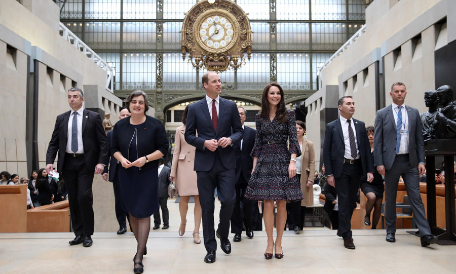 The couple were then guests of honor at the Musee d'Orsay. They surprised fellow tourists as they were given a guided tour of the museum.