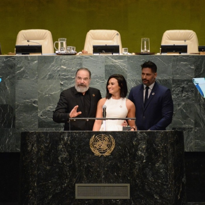 March 18: Smurfs at the UN! Mandy Patinkin, Demi Lovato, and Joe Manganiello spoke at the United Nations Headquarters in honor of International Day of Happiness and in conjunction with their film, <i>Smurfs: the Lost Village</I>, in NYC. 