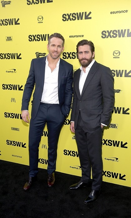 March 18: Suit up! Ryan Reynolds and Jake Gyllenhaal were charming at the premiere of their upcoming film <i>Life</i>. The actors opted for a more business casual look, with no tie and scruff, as they attended the 2017 SXSW Festival event at the Zach Scott Theater in Austin, Texas. 