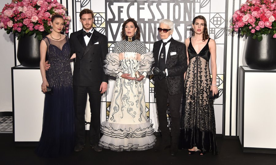 From left to right, Beatrice Borromeo and husband Pierre Casiraghi, Princess Caroline, Chanel designer Karl Lagerfeld and Charlotte Casiraghi at the Rose Ball 2017. 