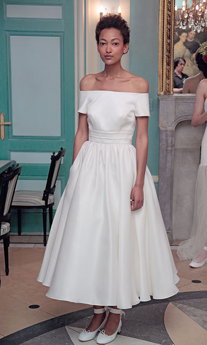 Designer <b>Delphine Manivet</B> channels a classic off-the-shoulder 1950's vibe to infuse your big day with old Hollywood glamour. 