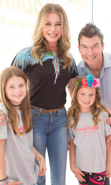March 18: Rebecca Romijn, Jerry O'Connell and their twins Dolly and Charlie kept busy during the opening of WeVillage Flexible Childcare in Sherman Oaks where little guests enjoyed Plum Organics and and older kids received flower crowns from The Ivy Design and braids by Glamsquad.