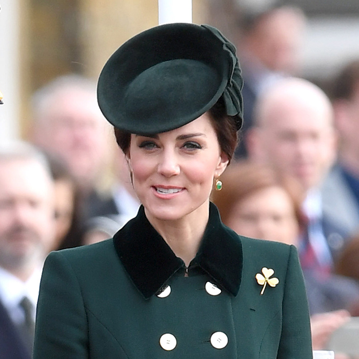 The Duchess of Cambridge wore a green Lock & Company hat along with her double-breasted Catherine Walker coat for St Patrick's Day in 2017.