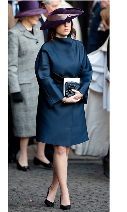 The Princess donned a teal coat and accessories, along with a purple feathered hat, for the memorial service honoring the 6th Duke of Westminster at Chester Cathedral in November 2016.