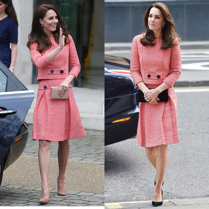 The Duchess of Cambridge showed the versatility of this retro-inspired two-piece look by Eponine London. In March 2017, for visit to Best Beginnings in London, she completed the outfit with nude heels and L.K Bennett clutch for a light spring look. Almost exactly a year earlier, in March 2016, she wore the same outfit, but set it off with black accessories instead. 