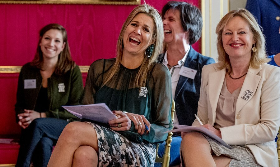 Queen Maxima of the Netherlands had a crowning moment as she burst into laughter at the opening of a music symposium in Palace Noordeinde in The Hague on March 22. 