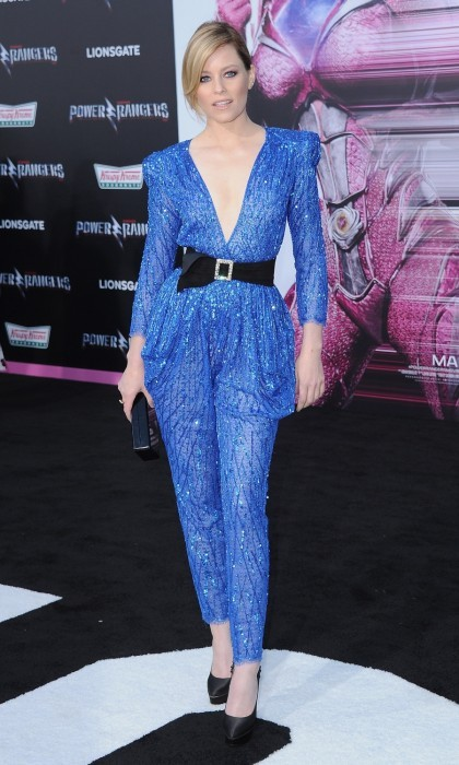 March 22: Blue brilliance! Elizabeth Banks stunned at the Los Angeles premiere of <i>Power Rangers</i> at the Westwood Village Theater in Westwood, California. The actress brought bold glam to the carpet in a plunging blue Zuhair Murad jumpsuit.