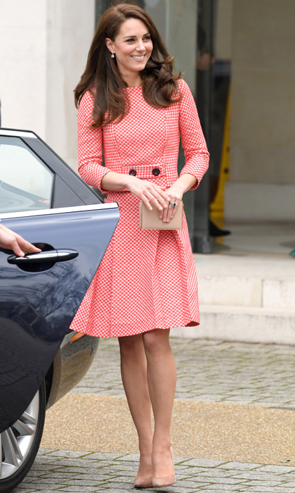 The Duchess of Cambridge attended the launch of a series of educational films about maternal mental health created by Best Beginnings on March 23 wearing a retro-inspired skirt suit by Eponine London. The royal accesorized the look with a gold L.K Bennett clutch bag and nude pump shoes.