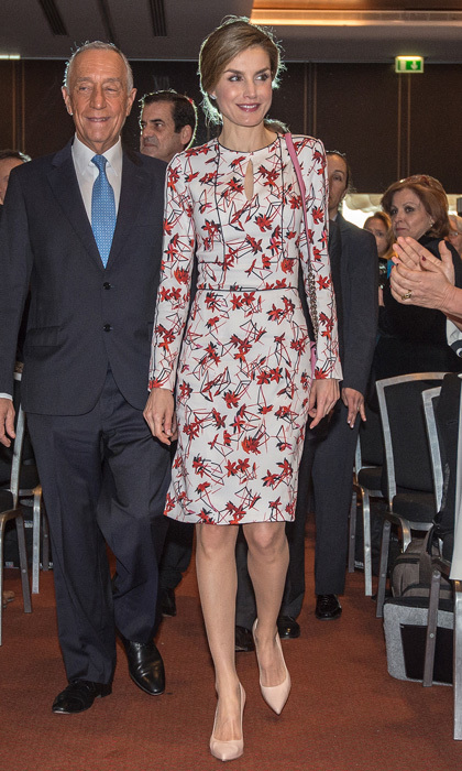 "Queen Letizia recycled her jasmine printed sheath dress by Carolina Herrera for the inaugural ceremony of the seventh European Conference ""Tobacco or Health.""