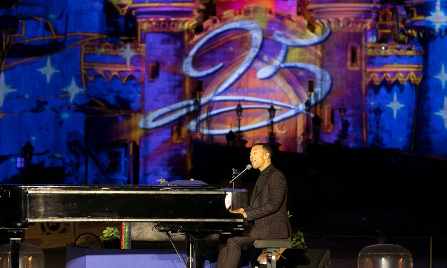"John Legend helped Disneyland Paris celebrate its 25th anniversary by performing his rendition of <i>Beauty and the Beast</i>. John also shared with the crowd, ""We've been to the ones in California and Florida, but this is the first time here in Paris performing Beauty and the Beast live for the first time. It was a good night.""