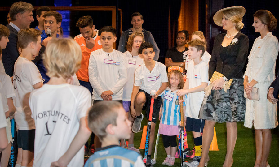 Queen Maxima, who is originally from Argentina, visited the Hockey Clinics in the Beurs van Berlage with first lady of Argentina Juliana Awada in Amsterdam during her and her husband's two-day visit to the Netherlands.
